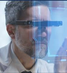 Research professional working with 3D computer images